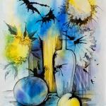 Жёлто-синий натюрморт. Тушь, акварель.