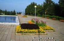 Цветники на Центральной площади (2009).