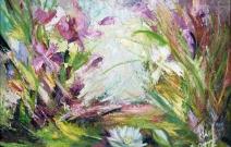 «Разнотравье». Картина мастихином. Дерево/масло, размер 55x75 см. Дата создания: 26.09.2012.
