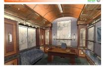Архитектурная студия «ДГ ПРОЕКТ». Дизайн кабинета в стиле «ретро купе поезда» в частном особняке. Москва, Горки-8