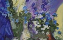 Синие цветы. Бумага, акрил.